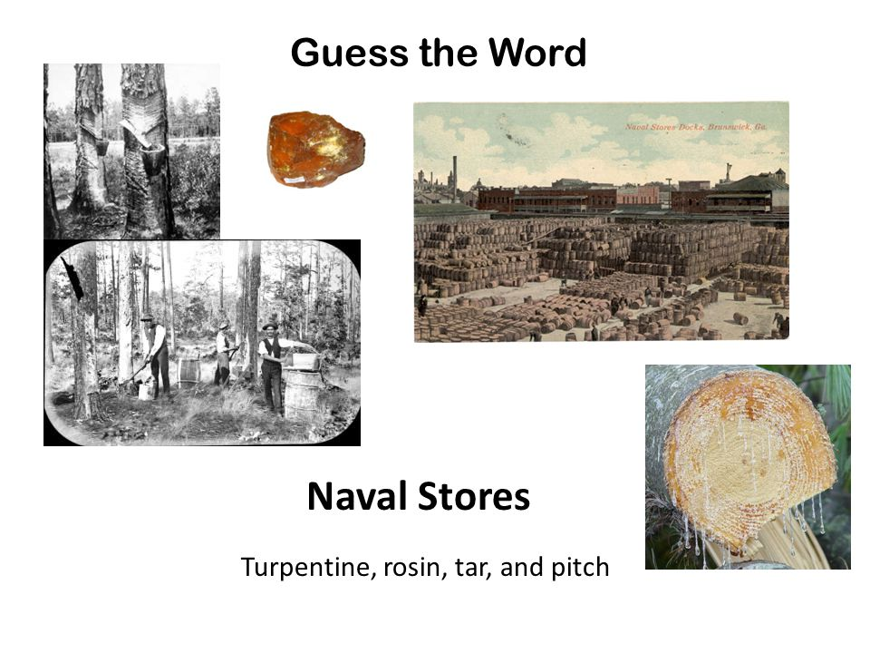 Guess the Word Naval Stores Turpentine, rosin, tar, and pitch