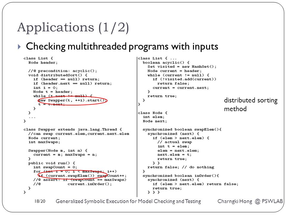 18/20 Generalized Symbolic Execution for Model Checking and Testing Charngki Hong @ PSWLAB Applications (1/2)  Checking multithreaded programs with inputs distributed sorting method