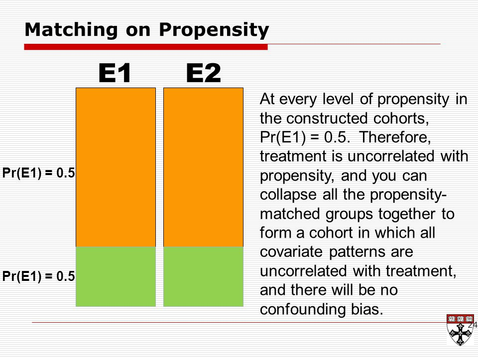 24 E1 Pr(E1) = 0.5 E2 At every level of propensity in the constructed cohorts, Pr(E1) = 0.5.