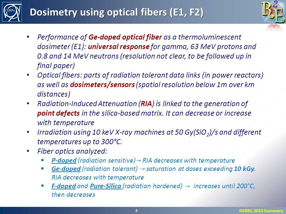 NSREC 2013 Summary 4 Dosimetry using optical fibers (E1, F2) Performance of Ge-doped optical fiber as a thermoluminescent dosimeter (E1): universal re