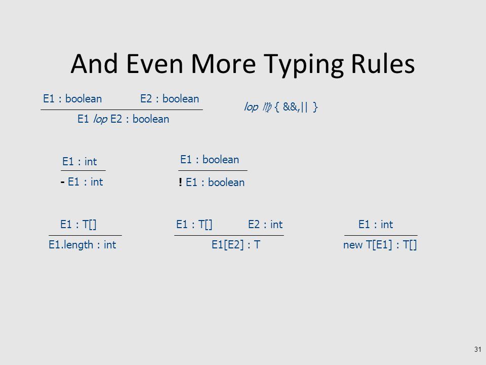 And Even More Typing Rules 31 E1 : boolean E2 : boolean E1 lop E2 : boolean lop  { &&,|| } E1 : int - E1 : int E1 : boolean .