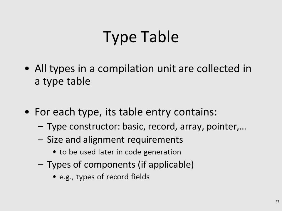Type Table All types in a compilation unit are collected in a type table For each type, its table entry contains: –Type constructor: basic, record, array, pointer,… –Size and alignment requirements to be used later in code generation –Types of components (if applicable) e.g., types of record fields 37