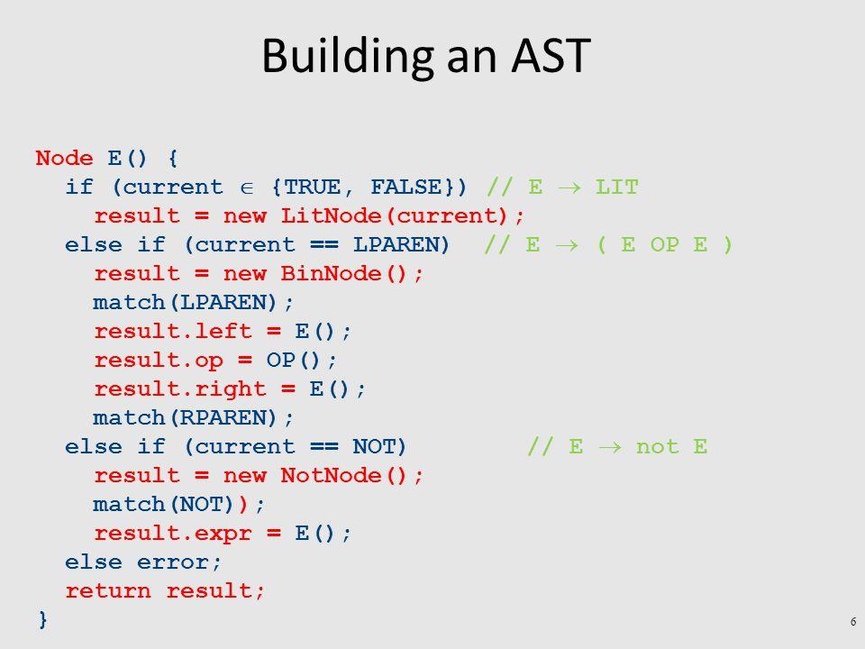 Building an AST Node E() { if (current  {TRUE, FALSE}) // E  LIT result = new LitNode(current); else if (current == LPAREN) // E  ( E OP E ) result = new BinNode(); match(LPAREN); result.left = E(); result.op = OP(); result.right = E(); match(RPAREN); else if (current == NOT) // E  not E result = new NotNode(); match(NOT)); result.expr = E(); else error; return result; } 6