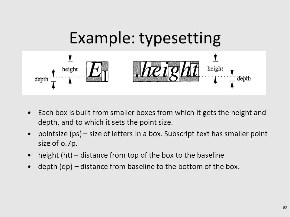 Example: typesetting Each box is built from smaller boxes from which it gets the height and depth, and to which it sets the point size.