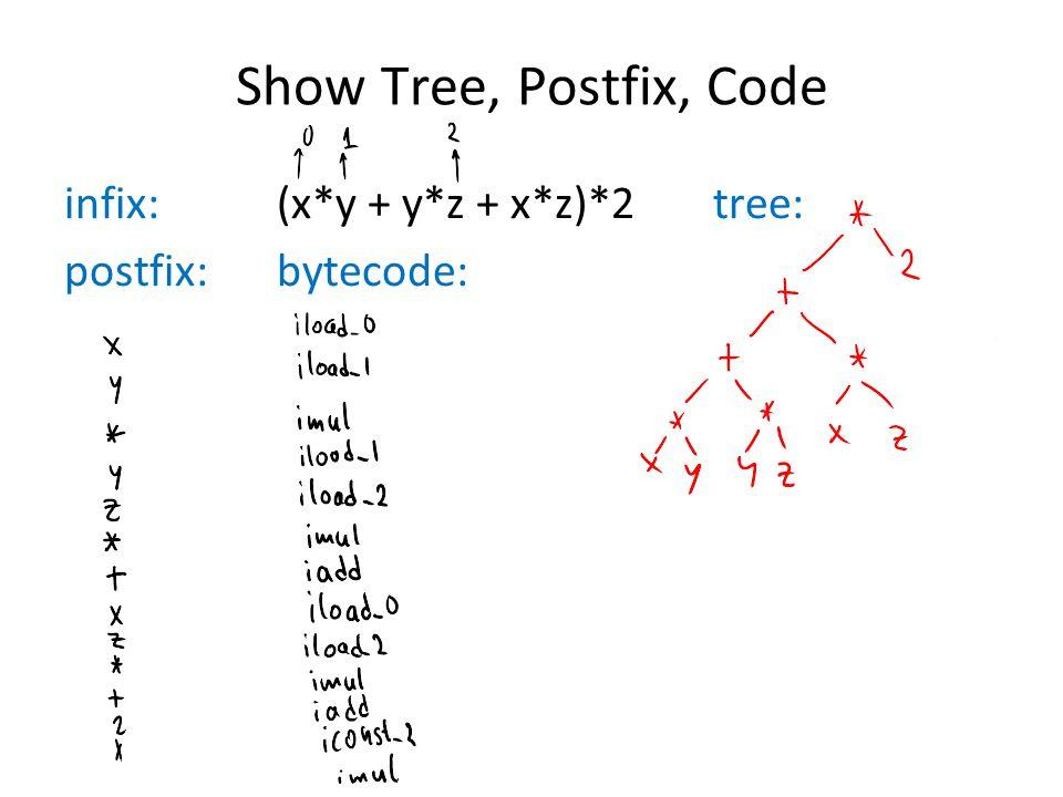 Show Tree, Postfix, Code infix: (x*y + y*z + x*z)*2 tree: postfix: bytecode:
