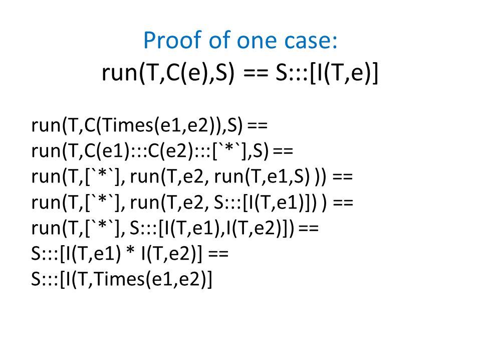 Proof of one case: run(T,C(e),S) == S:::[I(T,e)] run(T,C(Times(e1,e2)),S) == run(T,C(e1):::C(e2):::[`*`],S) == run(T,[`*`], run(T,e2, run(T,e1,S) )) == run(T,[`*`], run(T,e2, S:::[I(T,e1)]) ) == run(T,[`*`], S:::[I(T,e1),I(T,e2)]) == S:::[I(T,e1) * I(T,e2)] == S:::[I(T,Times(e1,e2)]