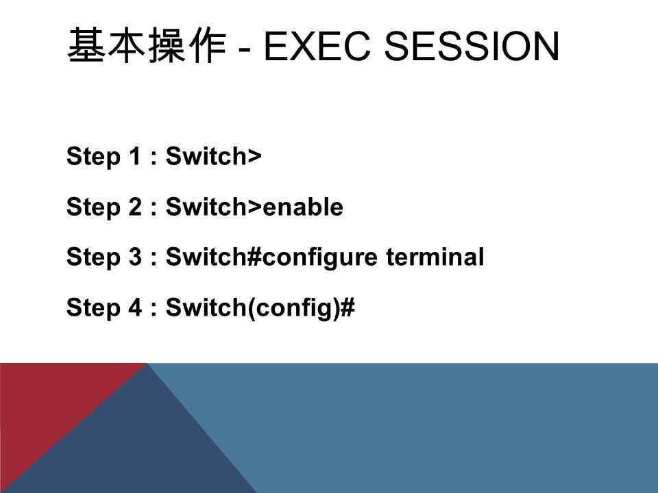 基本操作 - EXEC SESSION Step 1 : Switch> Step 2 : Switch>enable Step 3 : Switch#configure terminal Step 4 : Switch(config)#