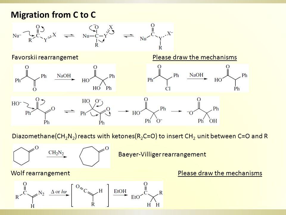 Curtius rearrangement (acyl chloride to amine) Hofmann rearrangement (amide to amine) Migration from C to O or N Baeyer-Villiger rearrangement base Please draw the mechanisms of Hofmann rearrangement