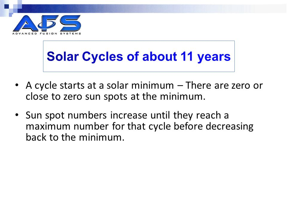 A cycle starts at a solar minimum – There are zero or close to zero sun spots at the minimum.