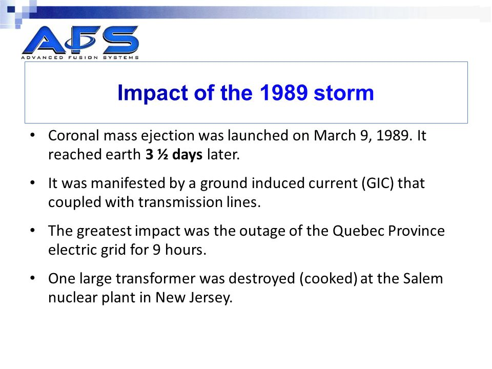 Coronal mass ejection was launched on March 9, 1989.