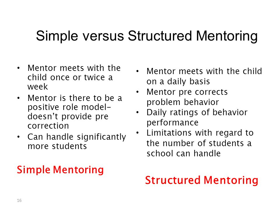 Simple versus Structured Mentoring Mentor meets with the child once or twice a week Mentor is there to be a positive role model- doesn't provide pre correction Can handle significantly more students Simple Mentoring Structured Mentoring Mentor meets with the child on a daily basis Mentor pre corrects problem behavior Daily ratings of behavior performance Limitations with regard to the number of students a school can handle 16