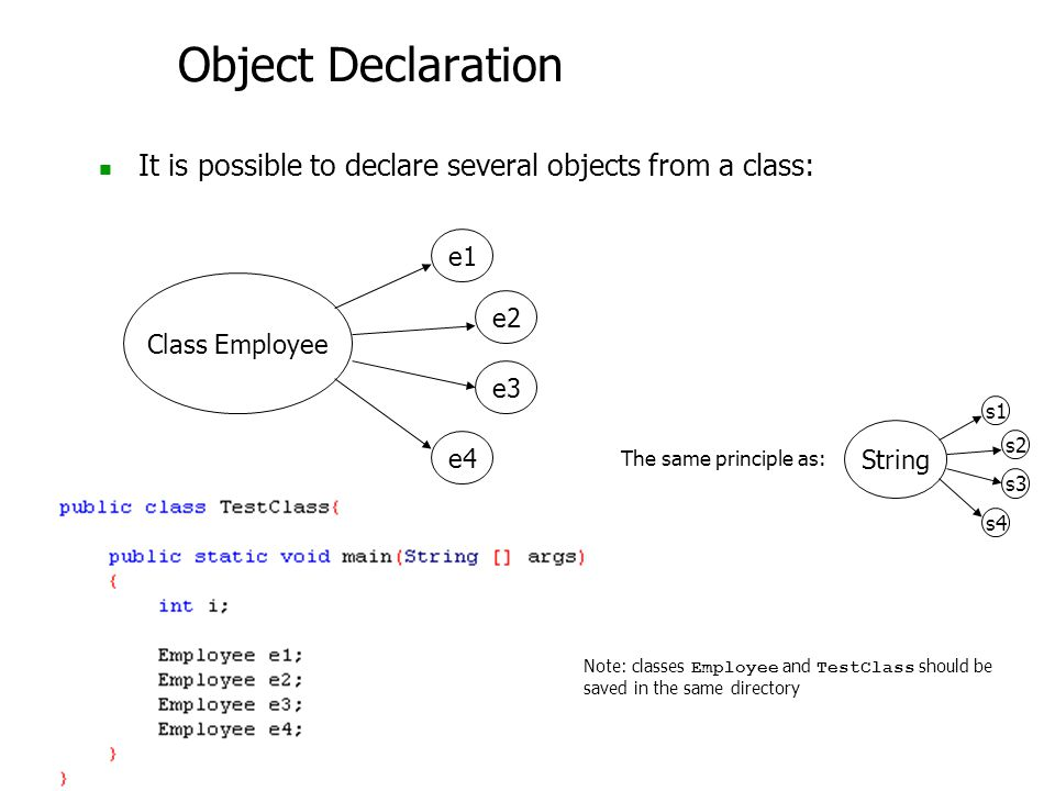 Object Declaration It is possible to declare several objects from a class: Class Employee e2 e1 e3 e4 Note: classes Employee and TestClass should be saved in the same directory String s2 s1 s3 s4 The same principle as: