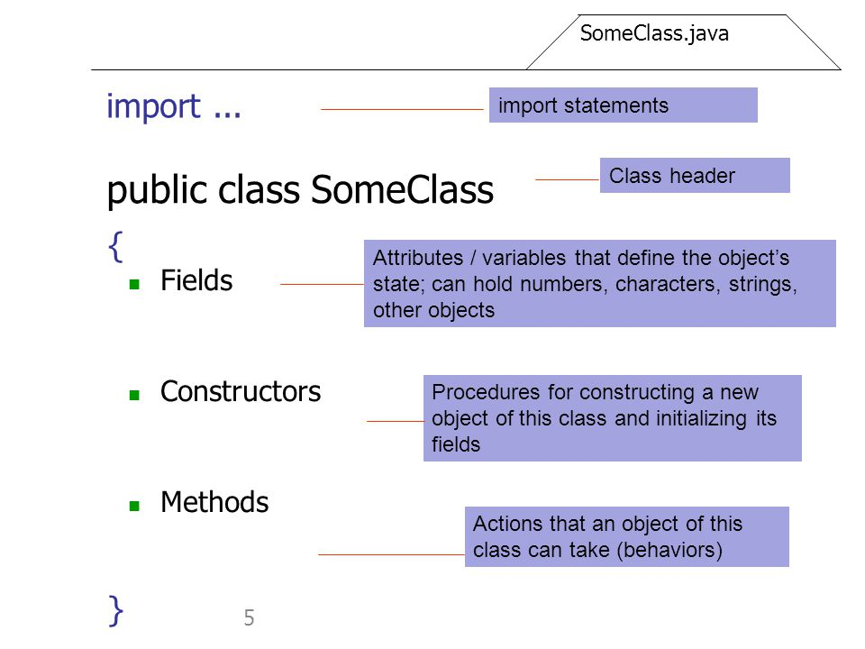 5 public class SomeClass Fields Constructors Methods } Attributes / variables that define the object's state; can hold numbers, characters, strings, o