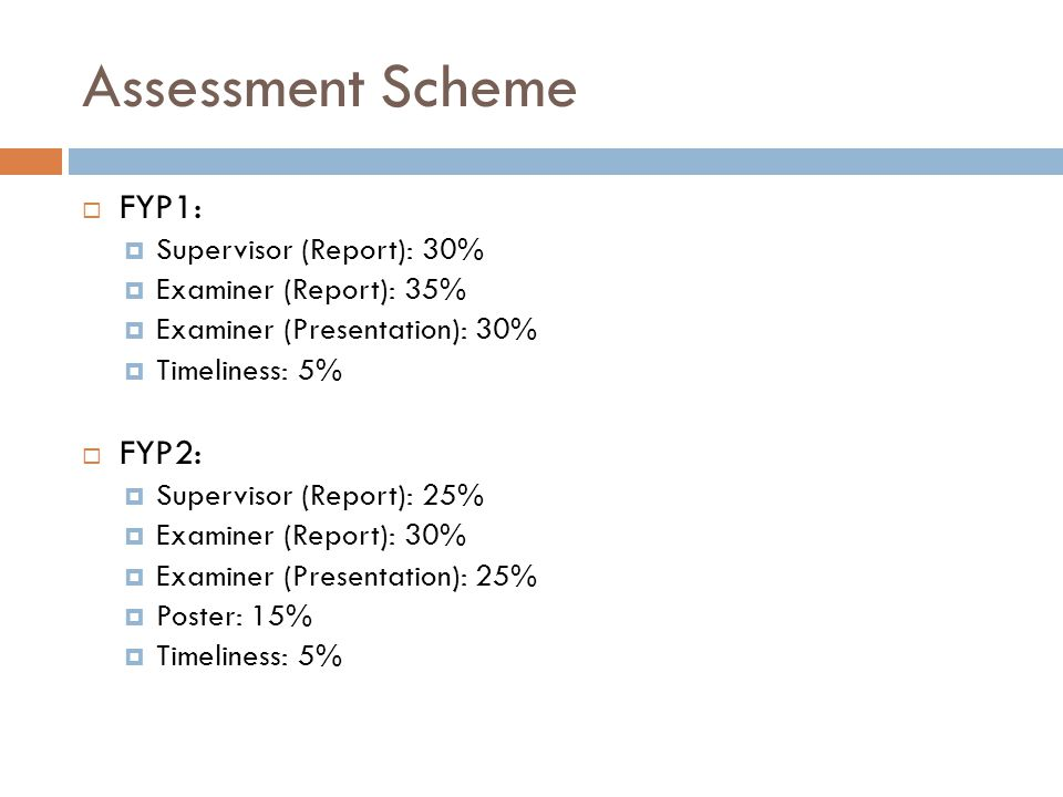 Assessment Scheme  FYP1:  Supervisor (Report): 30%  Examiner (Report): 35%  Examiner (Presentation): 30%  Timeliness: 5%  FYP2:  Supervisor (Re