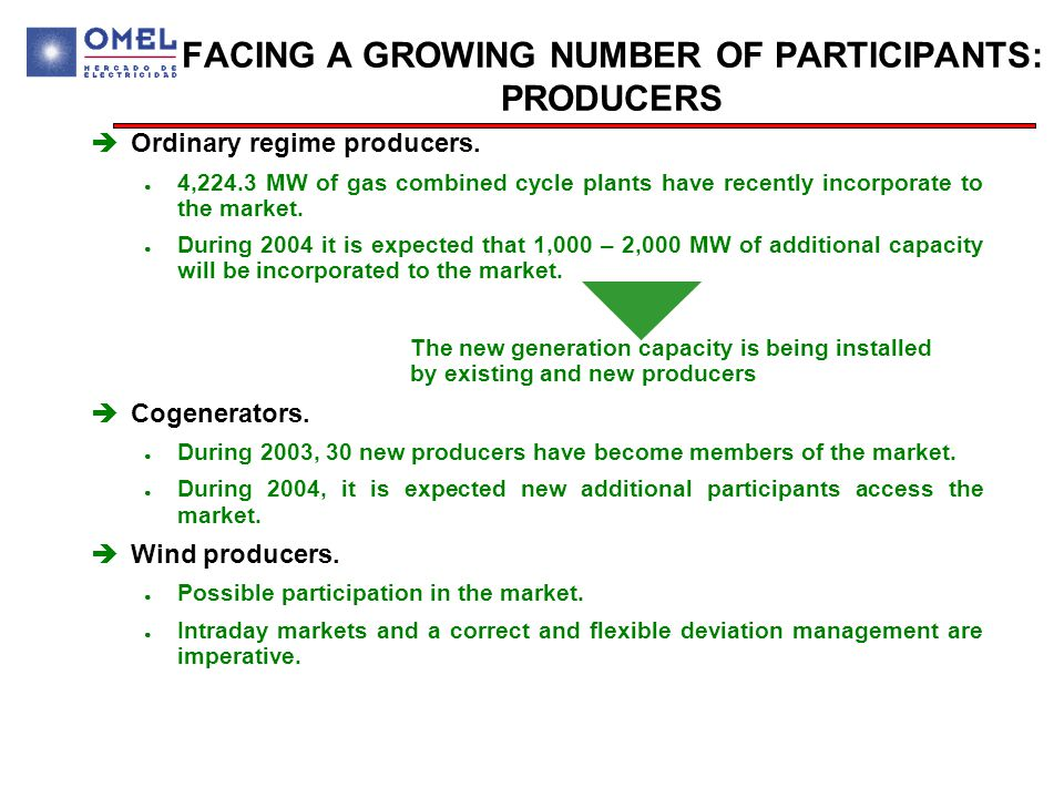 FACING A GROWING NUMBER OF PARTICIPANTS: PRODUCERS  Ordinary regime producers.