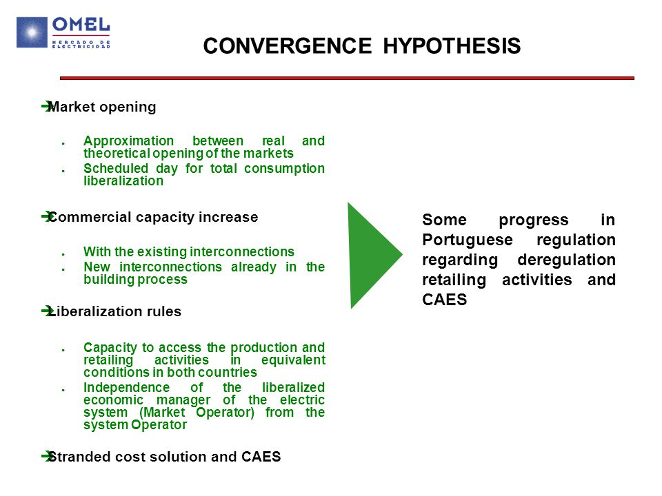 CONVERGENCE HYPOTHESIS  Market opening ● Approximation between real and theoretical opening of the markets ● Scheduled day for total consumption liberalization  Commercial capacity increase ● With the existing interconnections ● New interconnections already in the building process  Liberalization rules ● Capacity to access the production and retailing activities in equivalent conditions in both countries ● Independence of the liberalized economic manager of the electric system (Market Operator) from the system Operator  Stranded cost solution and CAES Some progress in Portuguese regulation regarding deregulation retailing activities and CAES