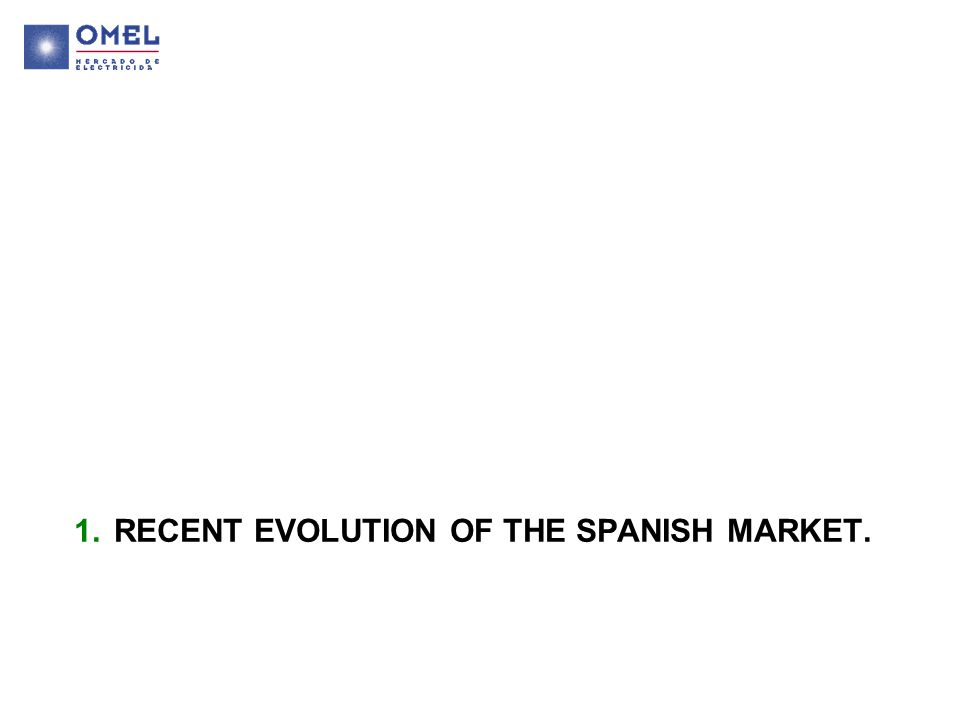 1.RECENT EVOLUTION OF THE SPANISH MARKET.