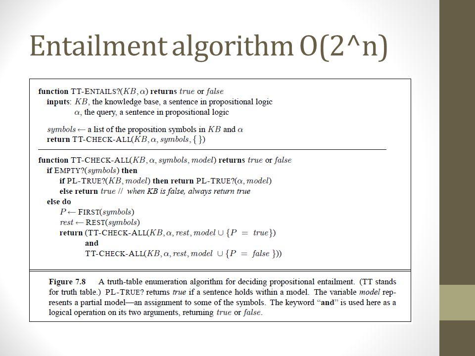 Entailment algorithm O(2^n)