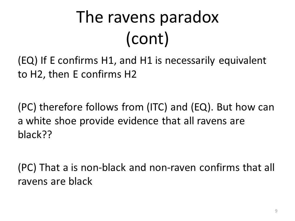 The ravens paradox (cont) (EQ) If E confirms H1, and H1 is necessarily equivalent to H2, then E confirms H2 (PC) therefore follows from (ITC) and (EQ)