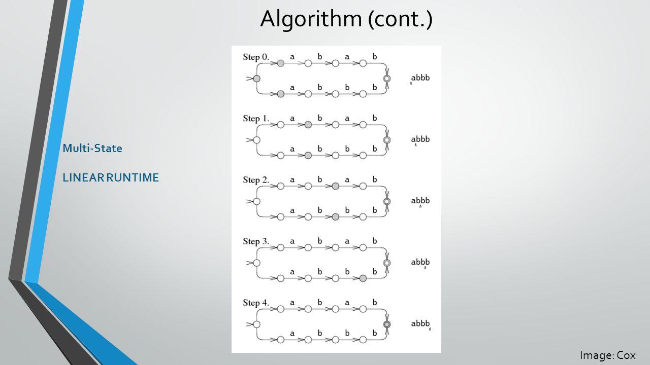 Algorithm (cont.) Multi-State LINEAR RUNTIME Image: Cox