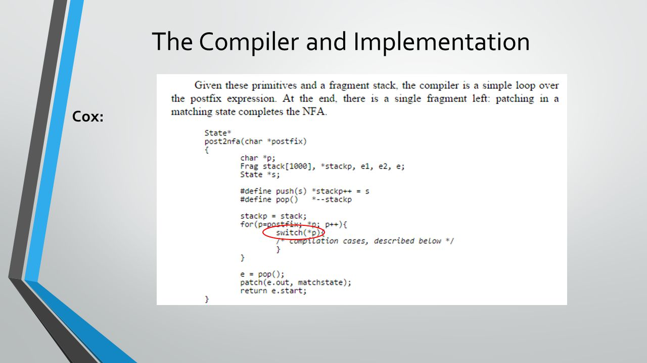 The Compiler and Implementation Cox: