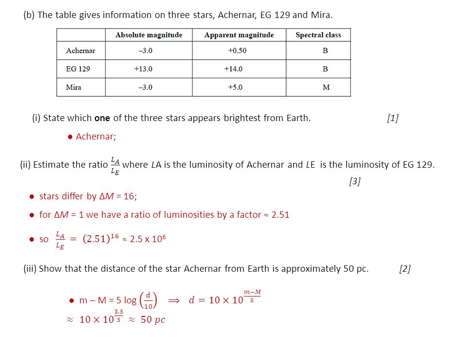 (b) The table gives information on three stars, Achernar, EG 129 and Mira. (i) State which one of the three stars appears brightest from Earth. [1] ●