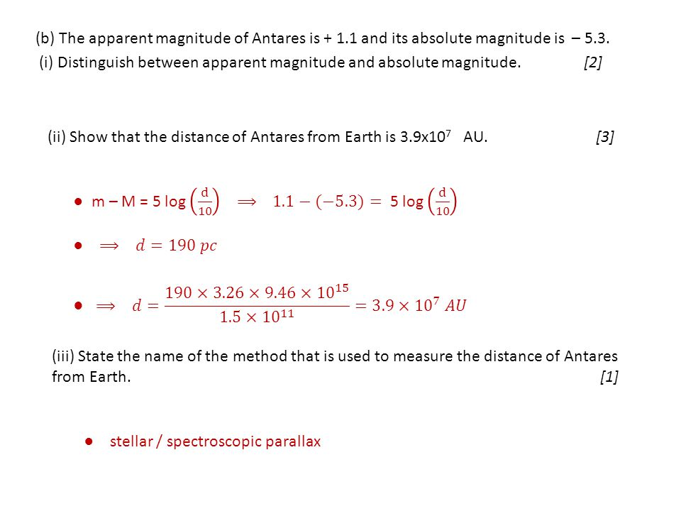 (b) The apparent magnitude of Antares is + 1.1 and its absolute magnitude is – 5.3. (i) Distinguish between apparent magnitude and absolute magnitude.