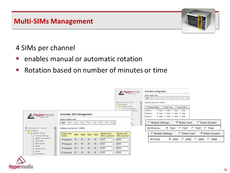 I I Multi-SIMs Management 4 SIMs per channel  enables manual or automatic rotation  Rotation based on number of minutes or time 12