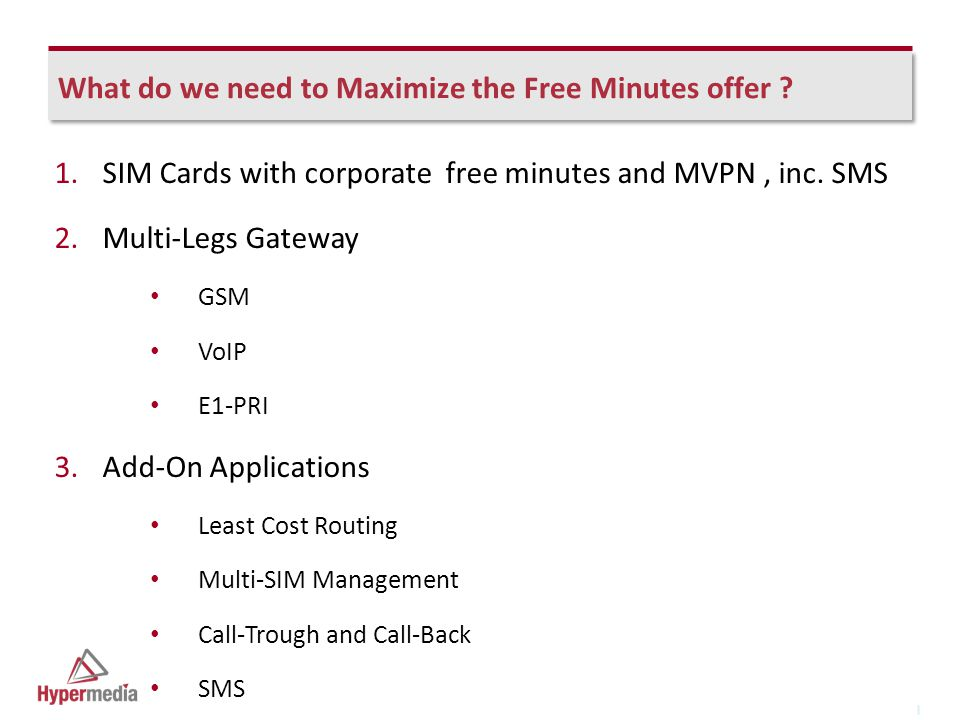 I I What do we need to Maximize the Free Minutes offer .