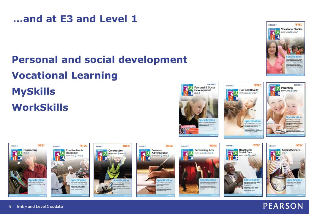…and at E3 and Level 1 8 Personal and social development Vocational Learning MySkills WorkSkills Entry and Level 1 update