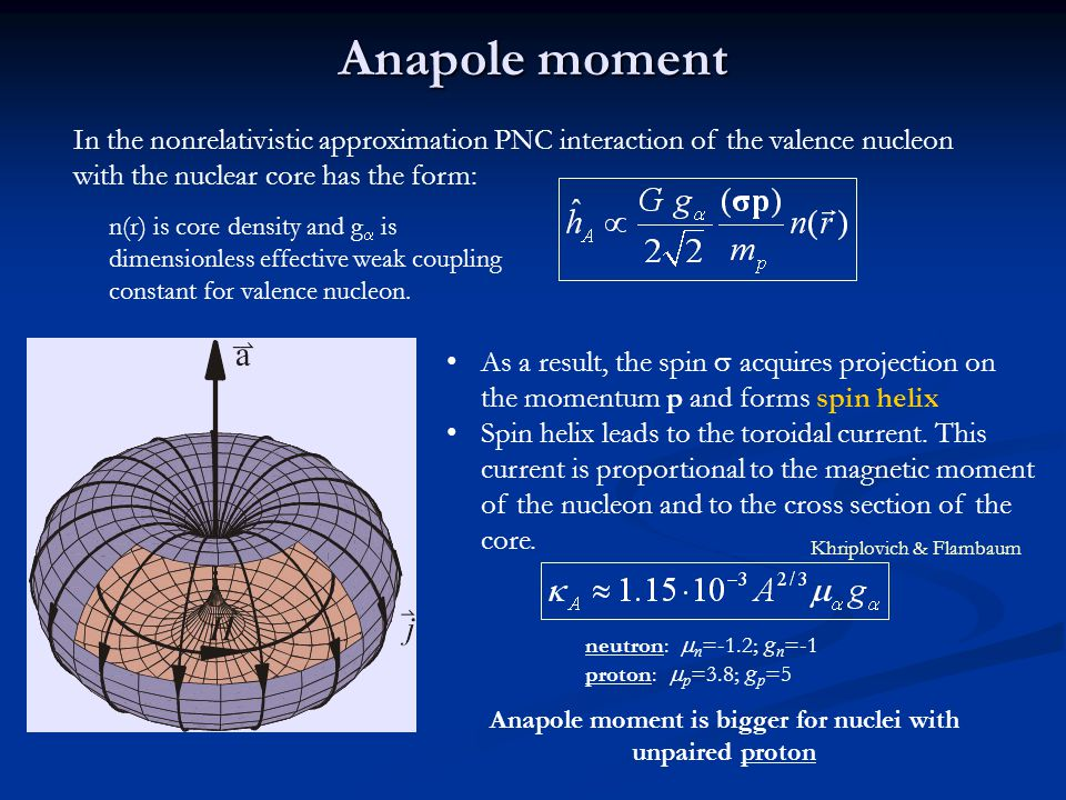 Anapole moment In the nonrelativistic approximation PNC interaction of the valence nucleon with the nuclear core has the form: n(r) is core density and g  is dimensionless effective weak coupling constant for valence nucleon.