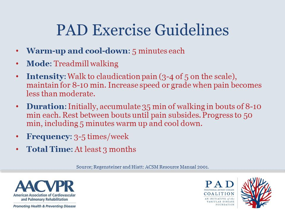 PAD Exercise Guidelines Warm-up and cool-down: 5 minutes each Mode: Treadmill walking Intensity: Walk to claudication pain (3-4 of 5 on the scale), maintain for 8-10 min.
