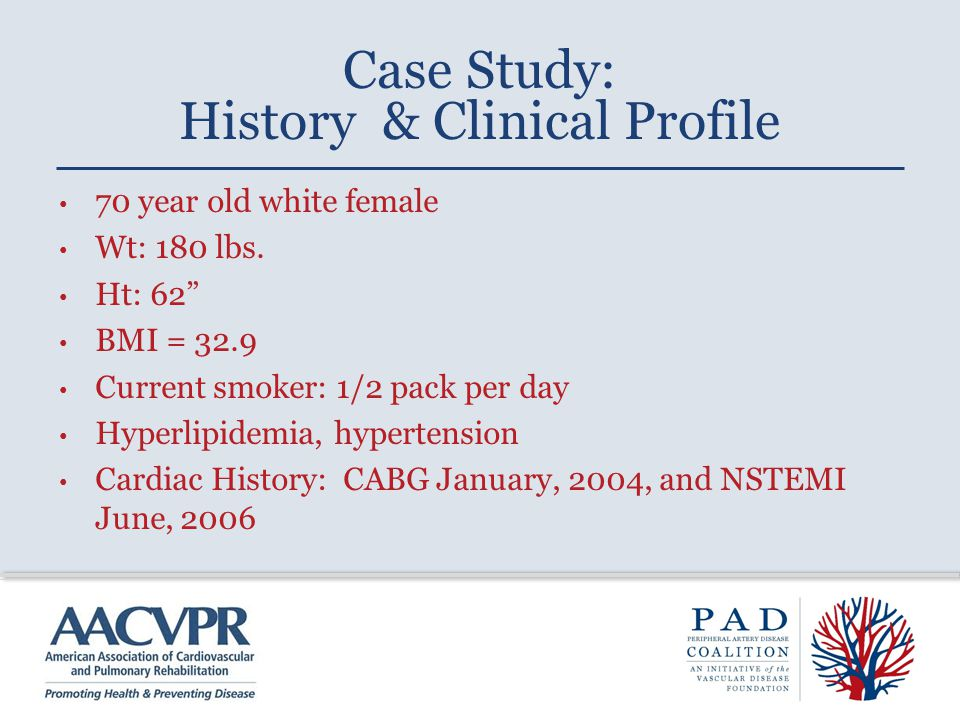 Case Study: History & Clinical Profile 70 year old white female Wt: 180 lbs.