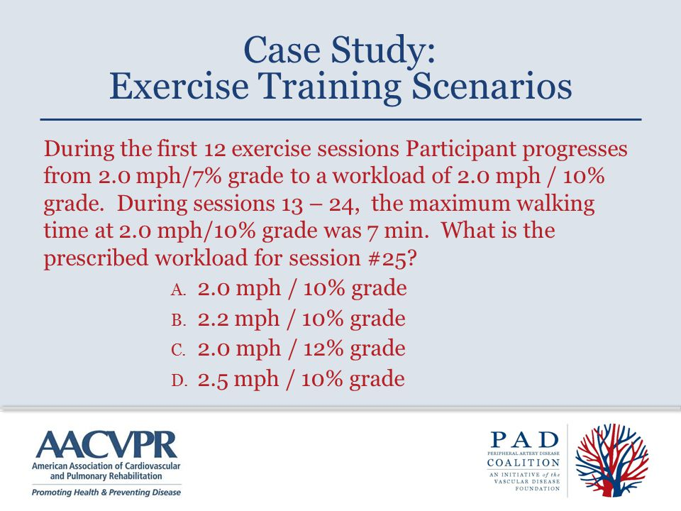 During the first 12 exercise sessions Participant progresses from 2.0 mph/7% grade to a workload of 2.0 mph / 10% grade. During sessions 13 – 24, the