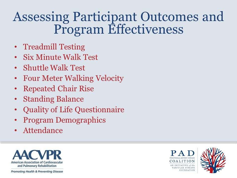 Assessing Participant Outcomes and Program Effectiveness Treadmill Testing Six Minute Walk Test Shuttle Walk Test Four Meter Walking Velocity Repeated
