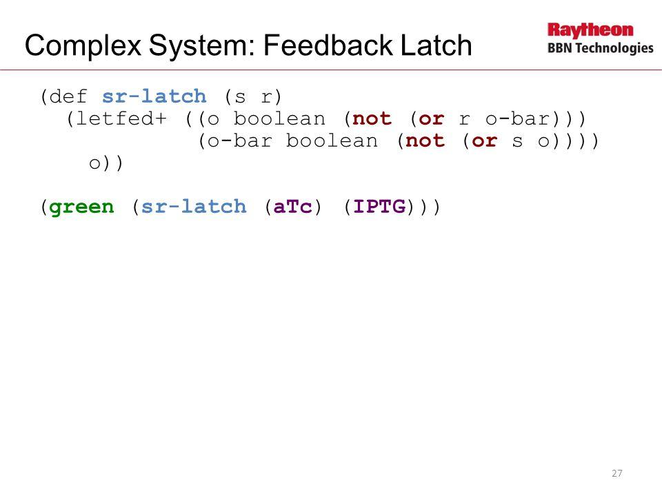 (def sr-latch (s r) (letfed+ ((o boolean (not (or r o-bar))) (o-bar boolean (not (or s o)))) o)) (green (sr-latch (aTc) (IPTG))) Complex System: Feedback Latch 27