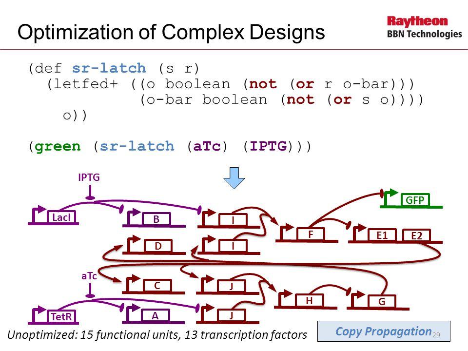 (def sr-latch (s r) (letfed+ ((o boolean (not (or r o-bar))) (o-bar boolean (not (or s o)))) o)) (green (sr-latch (aTc) (IPTG))) Optimization of Complex Designs LacI B IPTG Unoptimized: 15 functional units, 13 transcription factors IGIFGFPD E1 E2 A aTc JHC J TetR Copy Propagation 29
