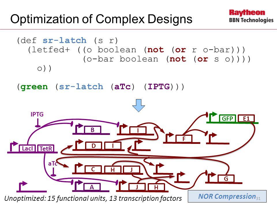 E1 (def sr-latch (s r) (letfed+ ((o boolean (not (or r o-bar))) (o-bar boolean (not (or s o)))) o)) (green (sr-latch (aTc) (IPTG))) Optimization of Complex Designs LacI B IPTG Unoptimized: 15 functional units, 13 transcription factors I GIF GFP D A aTc H J C J TetR NOR Compression H 31