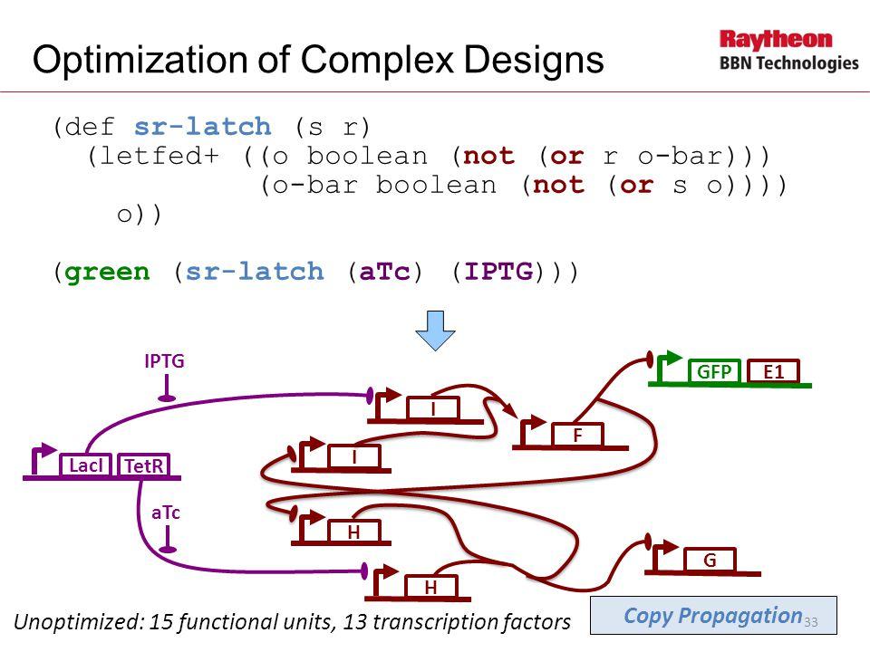 E1 (def sr-latch (s r) (letfed+ ((o boolean (not (or r o-bar))) (o-bar boolean (not (or s o)))) o)) (green (sr-latch (aTc) (IPTG))) Optimization of Complex Designs LacI IPTG Unoptimized: 15 functional units, 13 transcription factors I GIF GFP aTc H TetR Copy Propagation H 33
