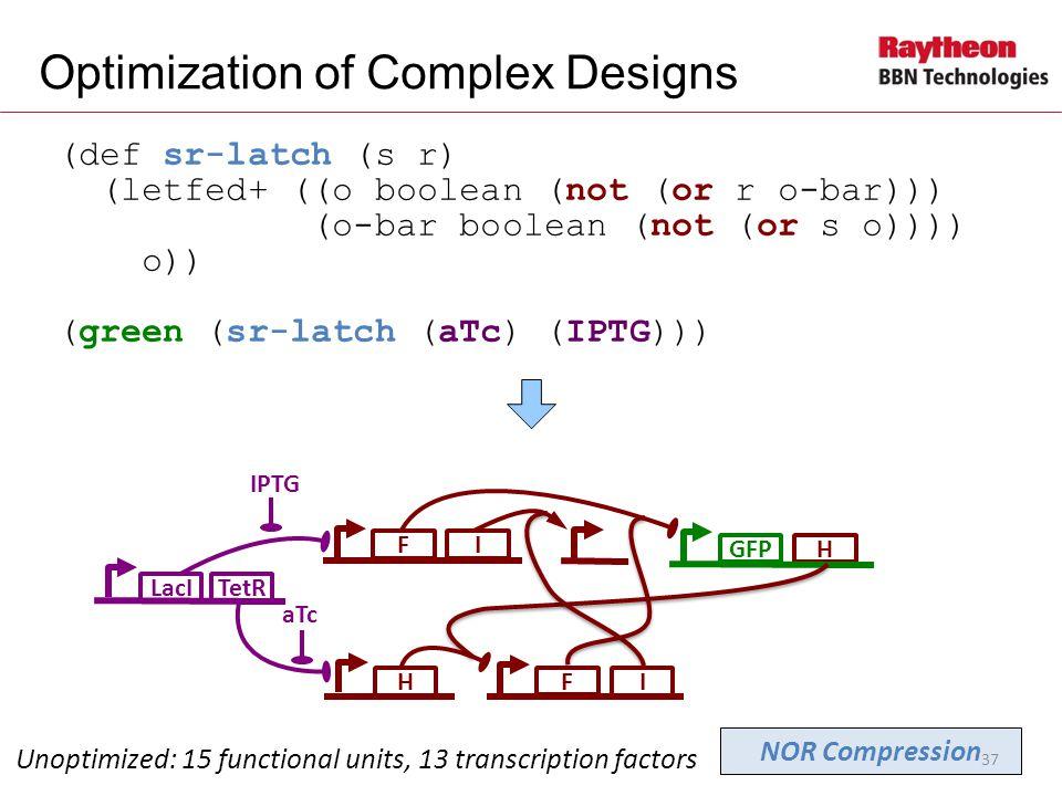H (def sr-latch (s r) (letfed+ ((o boolean (not (or r o-bar))) (o-bar boolean (not (or s o)))) o)) (green (sr-latch (aTc) (IPTG))) Optimization of Complex Designs Unoptimized: 15 functional units, 13 transcription factors F GFP H LacI IPTG TetR aTc F NOR Compression I I 37