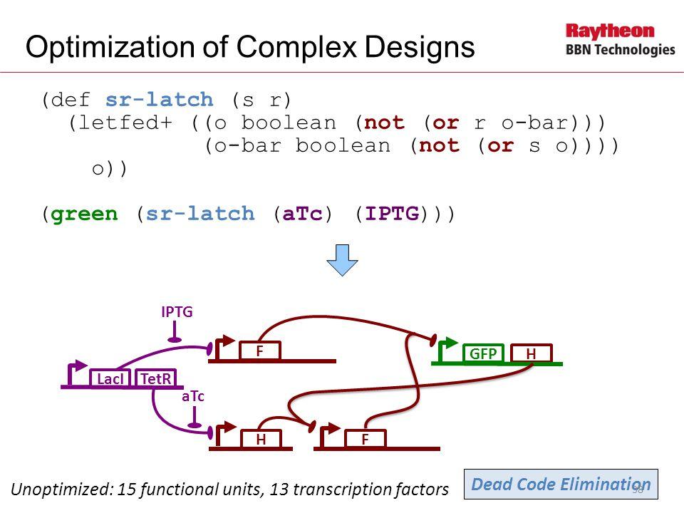 H (def sr-latch (s r) (letfed+ ((o boolean (not (or r o-bar))) (o-bar boolean (not (or s o)))) o)) (green (sr-latch (aTc) (IPTG))) Optimization of Complex Designs Unoptimized: 15 functional units, 13 transcription factors F GFP H LacI IPTG TetR aTc F Dead Code Elimination 38