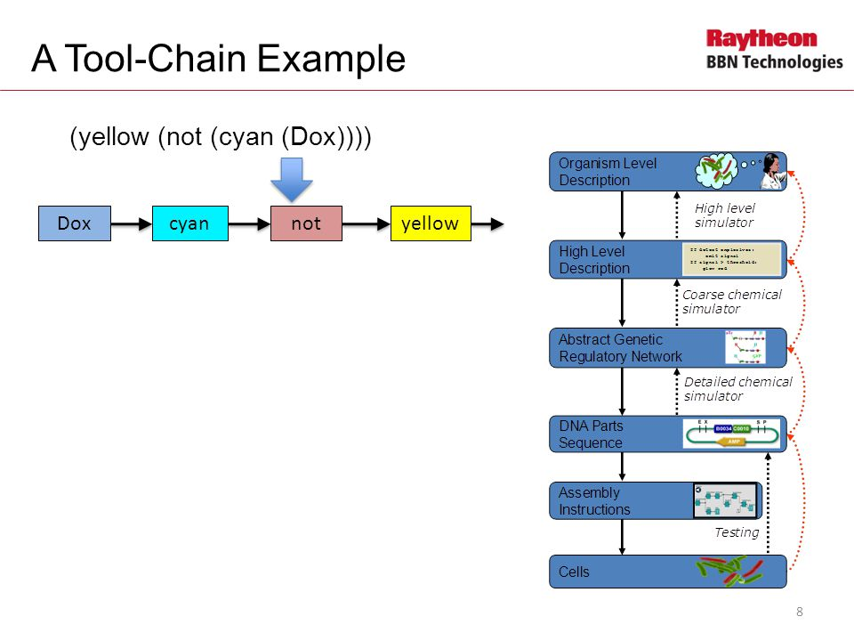 A Tool-Chain Example (yellow (not (cyan (Dox)))) Doxcyannotyellow rtTA CFP B B EYFP Dox 9