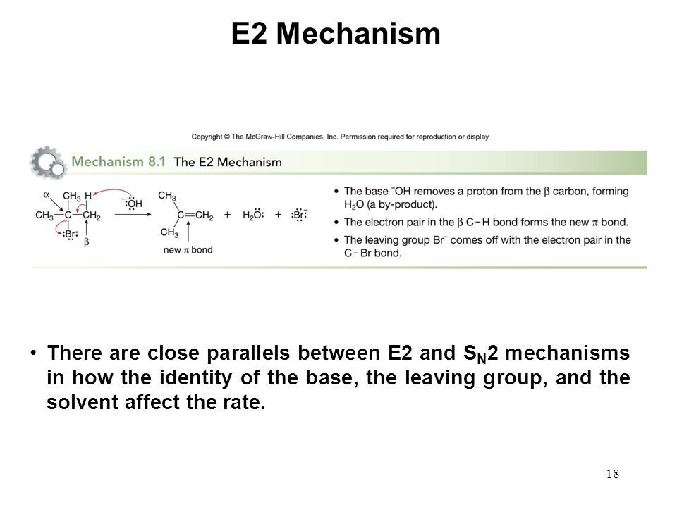 18 E2 Mechanism There are close parallels between E2 and S N 2 mechanisms in how the identity of the base, the leaving group, and the solvent affect t