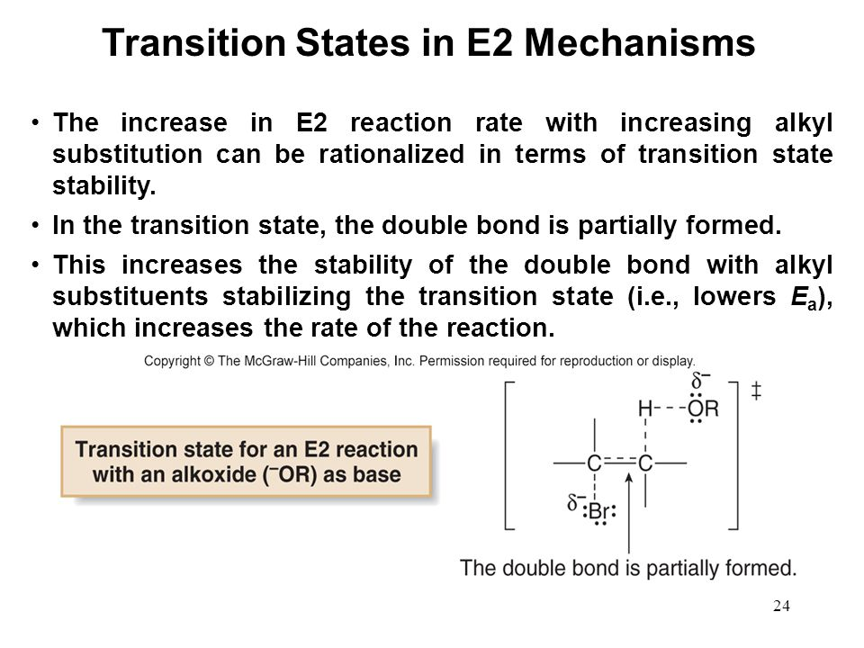 24 The increase in E2 reaction rate with increasing alkyl substitution can be rationalized in terms of transition state stability. In the transition s