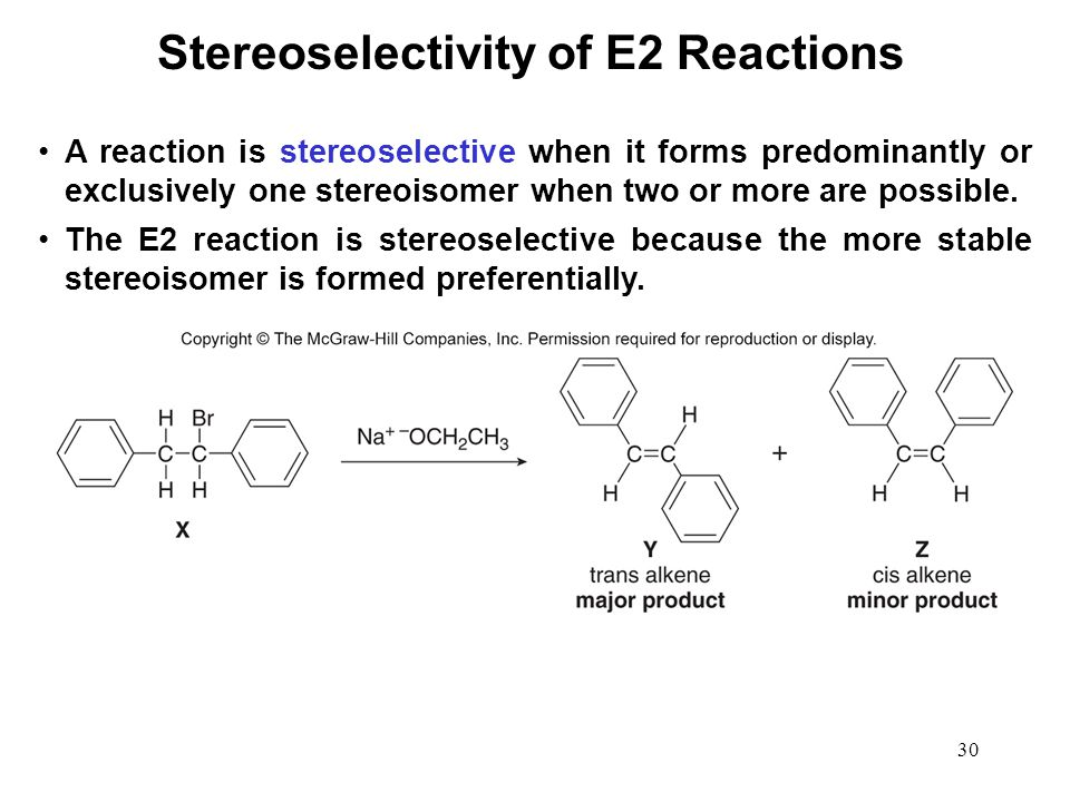 30 A reaction is stereoselective when it forms predominantly or exclusively one stereoisomer when two or more are possible. The E2 reaction is stereos