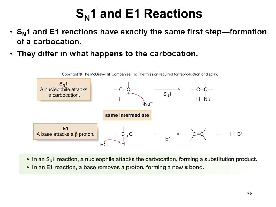 38 S N 1 and E1 reactions have exactly the same first step—formation of a carbocation. They differ in what happens to the carbocation. S N 1 and E1 Re