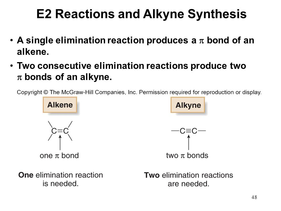 48 A single elimination reaction produces a  bond of an alkene. Two consecutive elimination reactions produce two  bonds of an alkyne. E2 Reactions