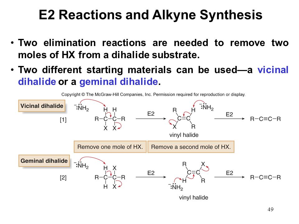 49 Two elimination reactions are needed to remove two moles of HX from a dihalide substrate. Two different starting materials can be used—a vicinal di