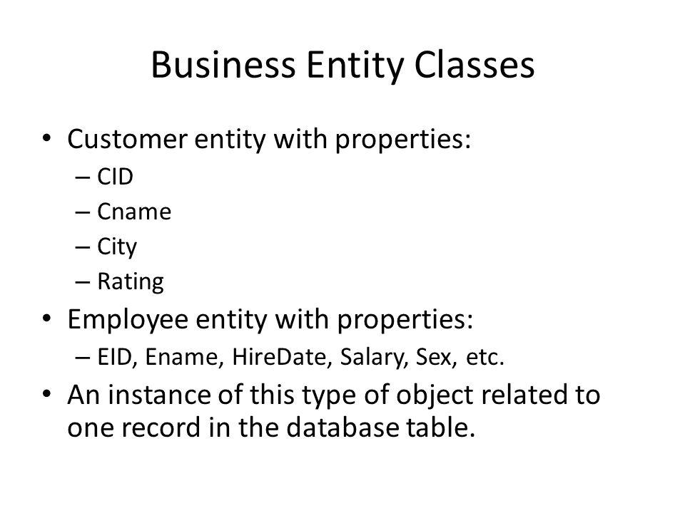 Example Customer Class: – Properties: CID, Cname, City, Rating – Method: public Boolean GetCustData(String cid) – This method will retrieve customer record based on the cid.