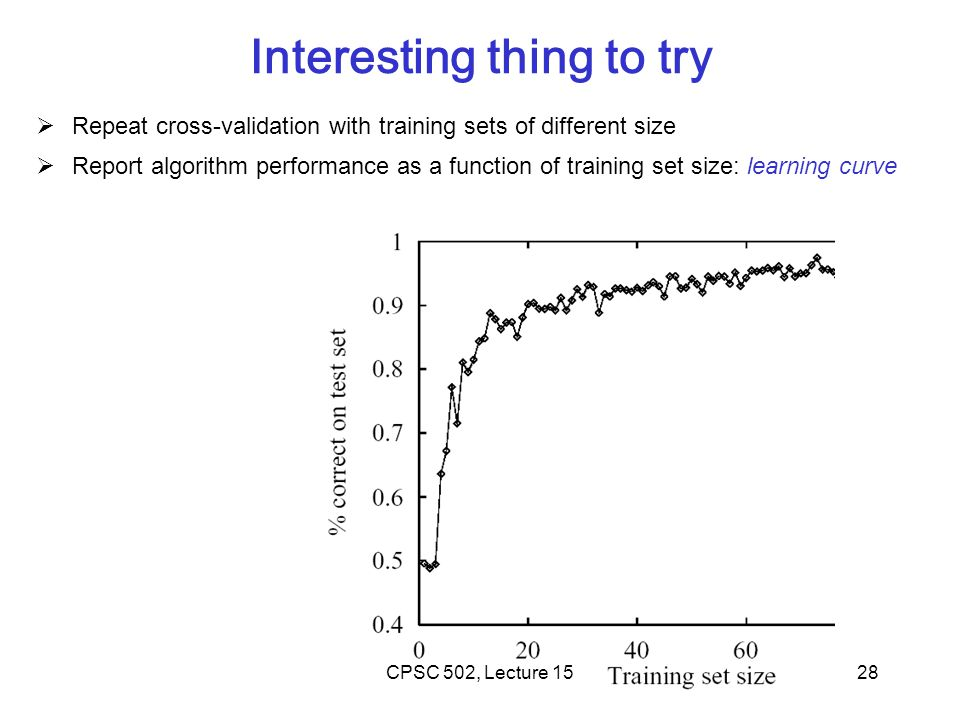 28 Interesting thing to try  Repeat cross-validation with training sets of different size  Report algorithm performance as a function of training set size: learning curve CPSC 502, Lecture 15